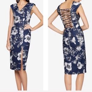 Fame and Partners floral lace up sheath dress